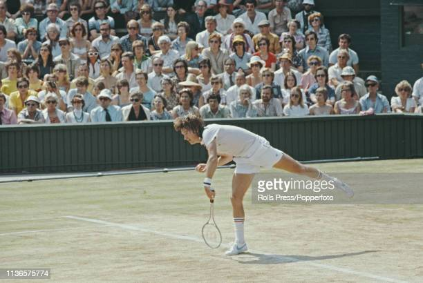 American tennis player Jimmy Connors pictured in action during play to lose to Swedish tennis player Bjorn Borg in the semifinals of the Men's...