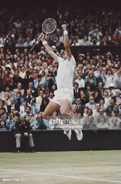 American tennis player Jimmy Connors pictured jumping in the air in celebration after winning the final of the Men's Singles tournament against...