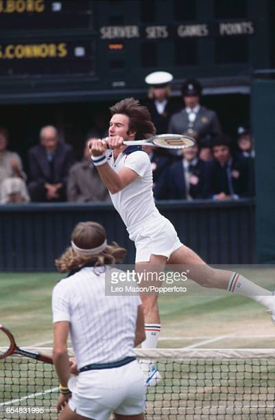American tennis player Jimmy Connors pictured top competing against Bjorn Borg of Sweden in the final of the Men's Singles tournament with Bjorn Borg...