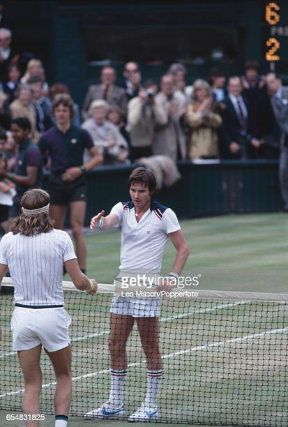 American tennis player Jimmy Connors shakes hands with Swedish tennis player Bjorn Borg after being defeated by Borg in the final of the Men's...