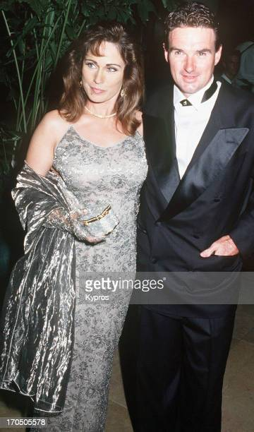 American tennis player Jimmy Connors with his wife former Playmate of the Year Patti McGuire circa 1992