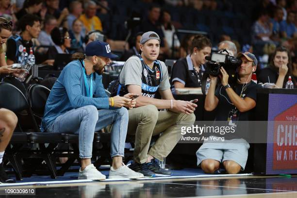 American tennis player John Isner sits courtside during the round 12 NBL match between the New Zealand Breakers and the Perth Wildcats at Spark Arena...
