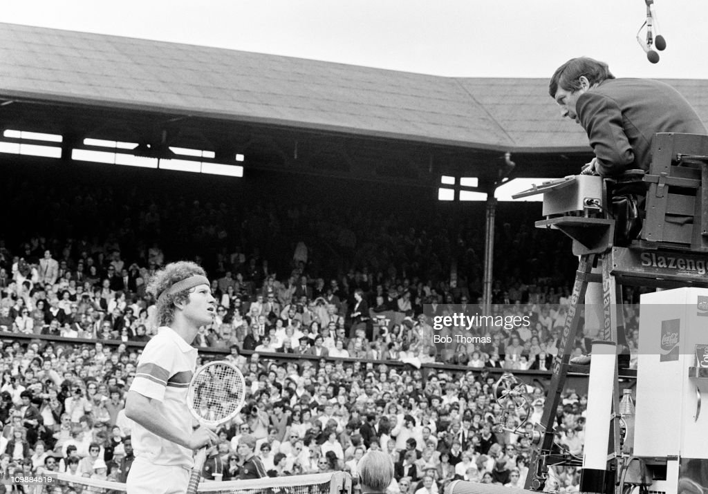John McEnroe of the USA arguing with the umpire during a tennis match on Centre Court at Wimbledon in June 1981. (Photo by Bob Thomas/Getty Images).