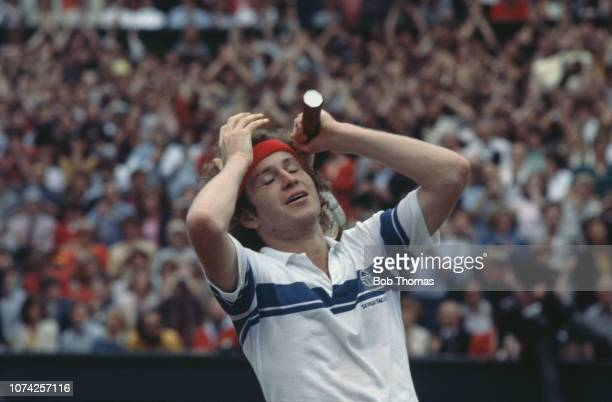 American tennis player John McEnroe despairs during play to win the final of the Men's Singles tournament against Bjorn Borg of Sweden 46 76 76 64 at...
