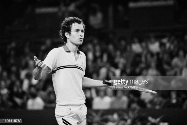 American tennis player John McEnroe during the final at Benson & Hedges Championships, Wembley Arena, London, UK, 16th November 1981.