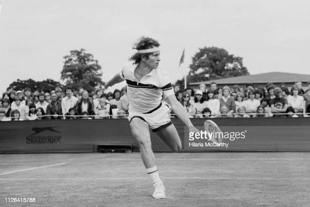American tennis player John McEnroe in action at Wimbledon Championships, All England Lawn Tennis and Croquet Club, London, UK, 30th June 1981.