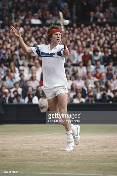 American tennis player John McEnroe pictured in action during competition to reach the final and win the Men's Singles tournament to become champion...