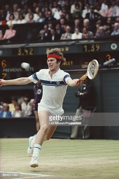 American tennis player John McEnroe in action during his semifinal match against Rod Frawley before progressing to reach the final and win the Men's...