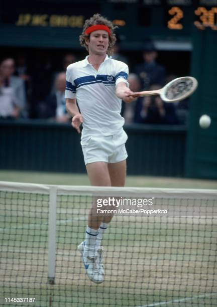 American tennis player John McEnroe in action during play to win the final of the Men's Singles tournament against Bjorn Borg of Sweden 46 76 76 64...