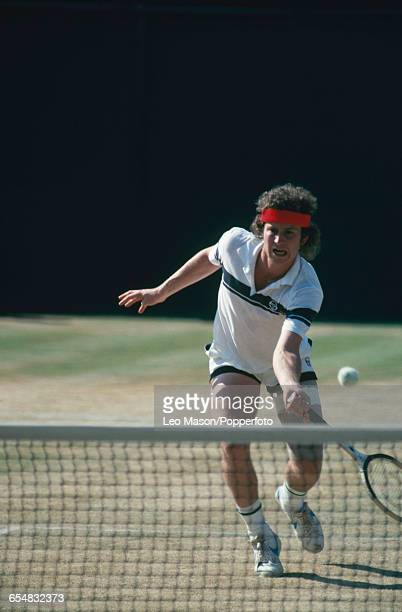 American tennis player John McEnroe in competition to progress to reach the fourth round of the Men's Singles tournament at the Wimbledon Lawn Tennis...