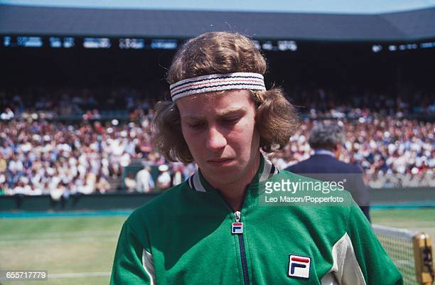 American tennis player John McEnroe pictured during competition to reach the semifinals of the Men's singles tournament at the Wimbledon Lawn Tennis...