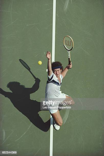 American tennis player John McEnroe pictured in action during competition to progress to win the final of the 1980 US Open Men's Singles tennis...