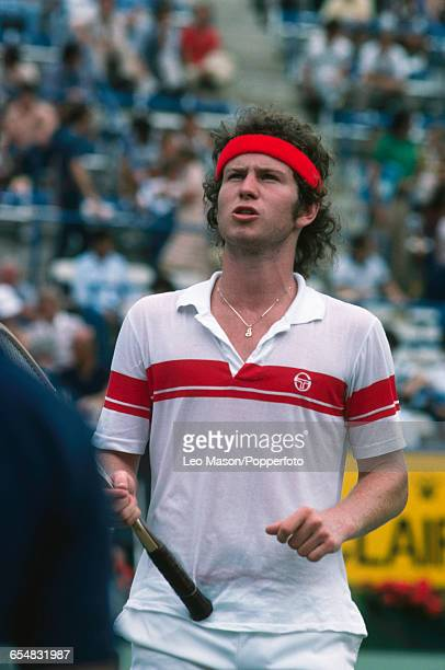 American tennis player John McEnroe pictured in action during competition to progress to win the final of the 1979 US Open Men's Singles tennis...