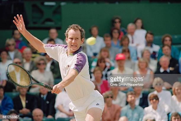 American tennis player John McEnroe pictured in action to lose his semifinals match against fellow American tennis player Andre Agassi 46 26 36 in...