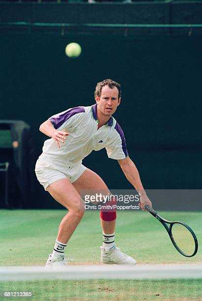 American tennis player John McEnroe pictured in action to win his second round match against Australian tennis player Pat Cash 67 64 67 63 62 in the...