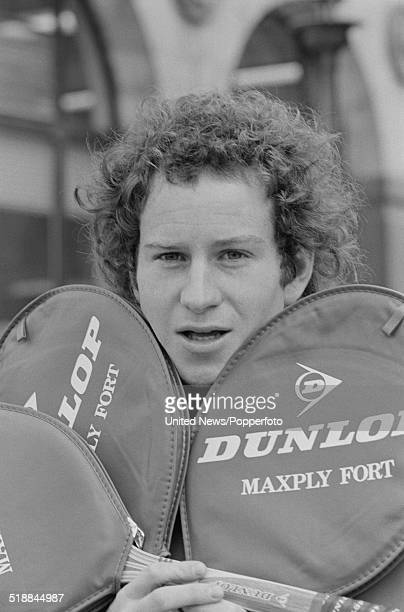 American tennis player John McEnroe posed with Dunlop tennis rackets in London on 20th March 1981