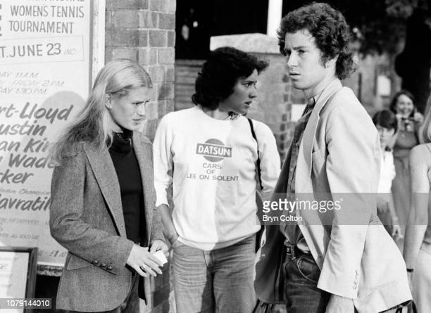 American tennis player John McEnroe right arrives with his girlfriend American tennis player Stacy Margolin left ahead of her tennis match at...