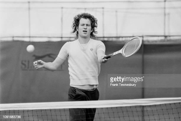 American tennis player John McEnroe training, UK, 10th June 1980.
