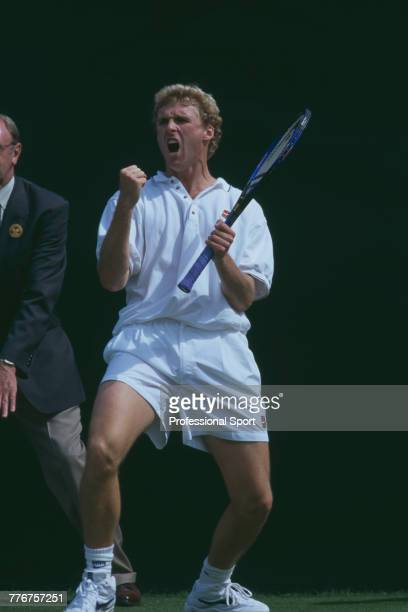 American tennis player Jonathan Stark pictured in action during competition to reach the third round of the Men's Singles tennis tournament at the...