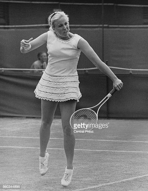 American tennis player Kristy Pigeon in action against Great Britain's Ann Jones in the London Grass Court Championships at the Queen's Club in West...