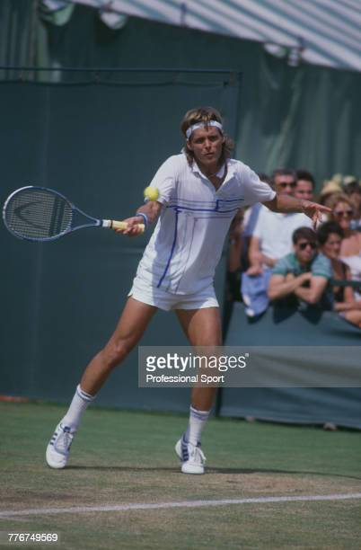 American tennis player Leif Shiras pictured in action during competition to reach the third round of the Men's Singles tennis tournament at the...