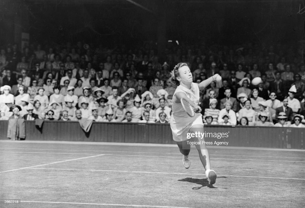 American tennis player Maureen Connolly in action against Miss Partridge at the Wimbledon Lawn Tennis Championships. Original Publication: People Disc - HC0278