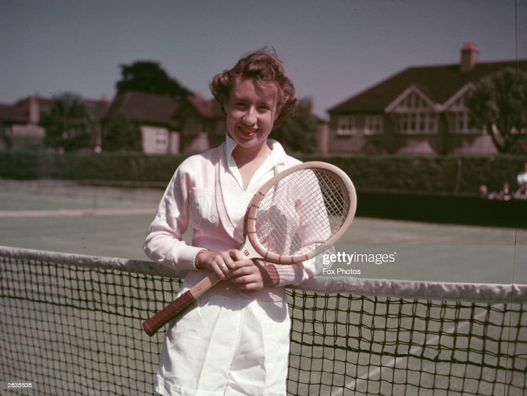 American tennis player Maureen Connolly, known as 'Little Mo'.