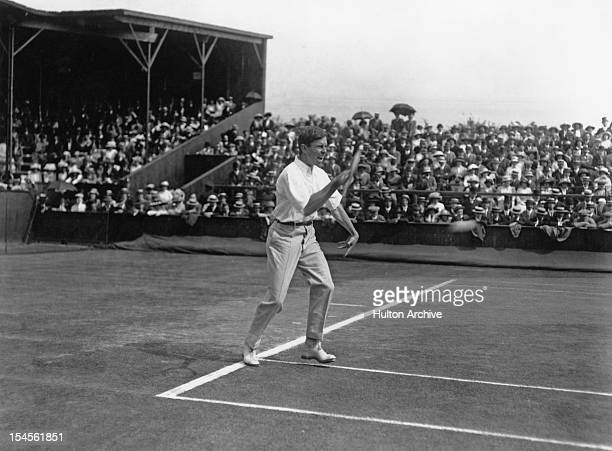 American tennis player Maurice E McLoughlin in a Davis Cup match at Wimbledon London 25th July 1913