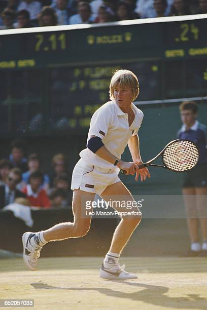 American tennis player Mel Purcell pictured in action competing with Vincent Van Patten in their third round match against Peter Fleming and John...