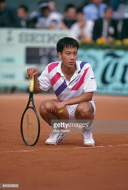 American tennis player Michael Chang at the French Open in Paris, 1989. He won the tournament, becoming the youngest male winner of a Grand Slam...