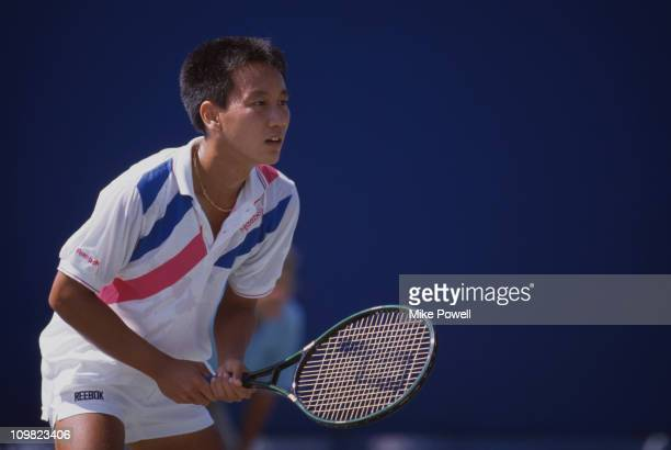 American tennis player Michael Chang competing in a US championship August 1988