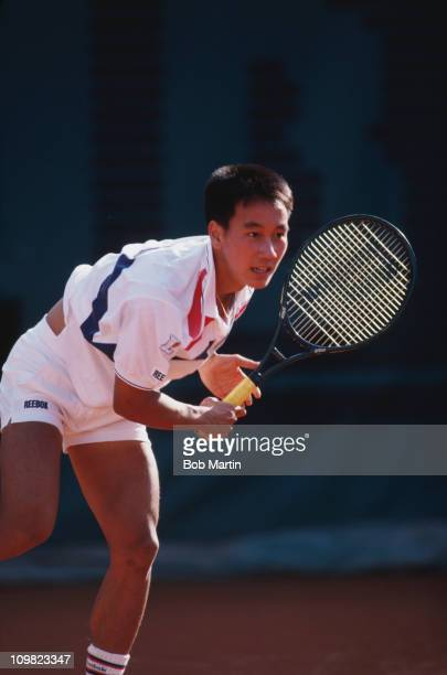 American tennis player Michael Chang competing in the French Open at the Stade Roland Garros Paris 1988
