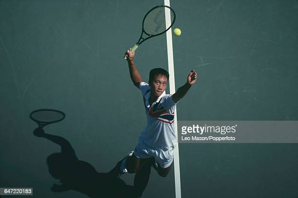 American tennis player Michael Chang pictured in action competing to reach the fourth round of the 1989 US Open Men's Singles tennis tournament at...