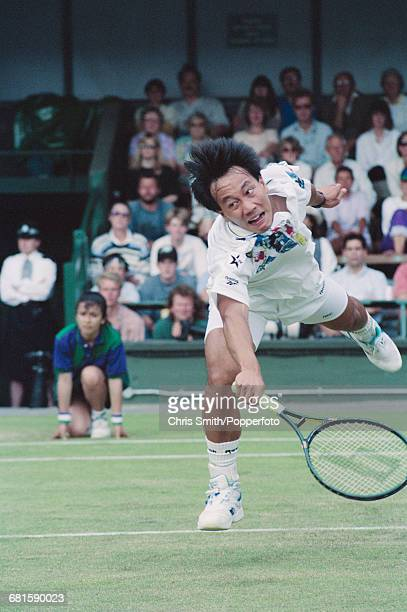 American tennis player Michael Chang pictured in action to lose against fellow American tennis player David Wheaton 46 46 75 64 46 in the third round...