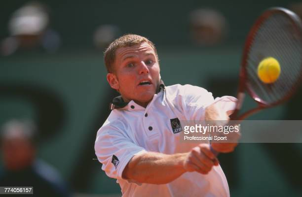 American tennis player Michael Russell pictured in action to lose to French tennis player Arnaud Di Pasquale, 4-6, 0-6, 6-4, 1-6 in the first round...