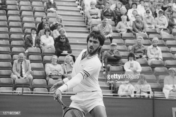 American tennis player Mike De Palmer in action against Jimmy Connors in the Queen's Club tournament London UK 12th June 1985