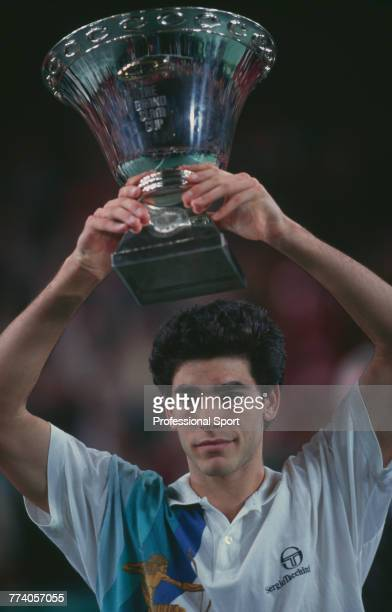 American tennis player Pete Sampras pictured holding the trophy above his head after beating fellow American tennis player Brad Gilbert 63 64 62 to...