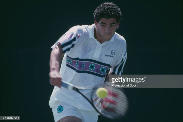 American tennis player Pete Sampras pictured in action during competition to reach the quarterfinals of the Men's Singles tournament at the 1992...