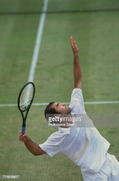 American tennis player Pete Sampras pictured in action during competition to reach the semifinals of the 2001 Stella Artois Championships singles...