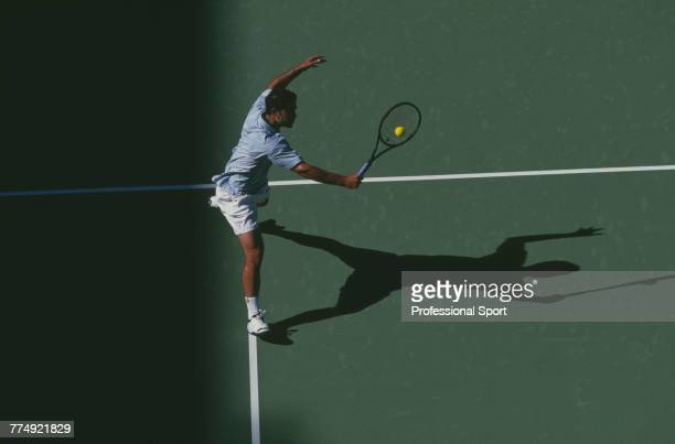 American tennis player Pete Sampras pictured in action during competition to reach the fourth round of the Men's Singles tennis tournament at the...