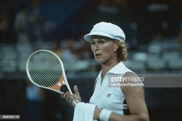 American tennis player Renee Richards pictured in action during competition to progress to reach the third round of the 1979 US Open Women's singles...