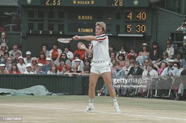 American tennis player Roscoe Tanner pictured in action during play to lose 76 16 63 36 46 to Swedish tennis player Bjorn Borg in the final of the...