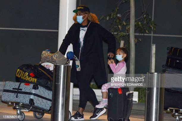 American tennis player Serena Williams and her daughter Alexis Olympia Ohanian Jr. Arrive before heading straight to quarantine for two weeks...