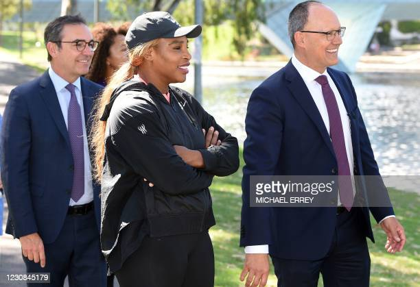 """American tennis player Serena Williams attends an event """"A Day at the Drive tennis exhibition"""" after two-weeks quarantine in Adelaide on January 29..."""