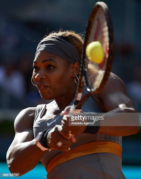 American tennis player Serena Williams in action against Swiss Belinda Bencic under the Matua Madrid Open at the Caja Magica on May 2 2014 in Madrid...