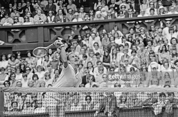 American tennis player Stan Smith at the Wimbledon Lawn Tennis Championships in London, UK, 26th June 1972. He won the championship that year,...