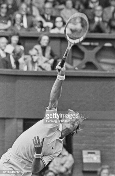 American tennis player Stan Smith during the Wimbledon Championships in London, UK, June 1974. He reached the semifinals of the Men's Singles, but...