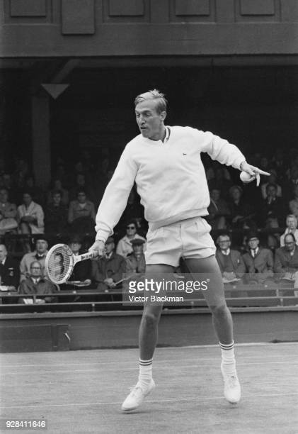 American tennis player Stan Smith in action at Wimbledon Championships, Men's Singles, held at the All England Lawn Tennis and Croquet Club in...