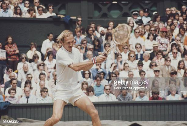 American tennis player Stan Smith pictured in action against Czech tennis player Jan Kodes in the semifinals of the Men's Singles tournament at the...