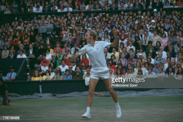 American tennis player Stan Smith pictured in action during competition to reach the semifinals of the Men's Singles tennis tournament at the...